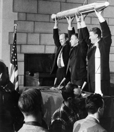 Pickering, van Allen, von Braun celebrating the launch.