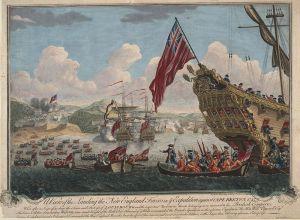 Vue du debarquement anglais pour l'attaque de Louisbourg 1745