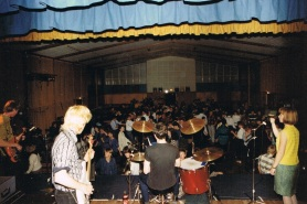 Playing Shirley Boys'& Marion High School Dance 21 June 1986 (photo by Damian Zelas)